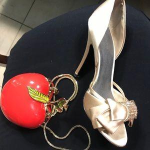 Satin gold pumps Adrienne Maloof